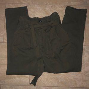 Olive Green Paper Bag Denim Pants